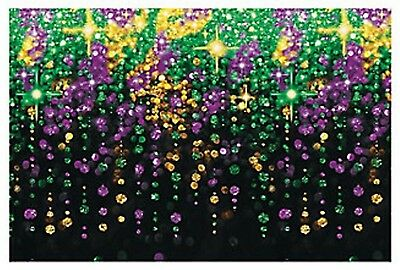 Mardi Gras Backdrop Banner Photo Prop Beads Galore Very Pretty 9Ft X 6Ft