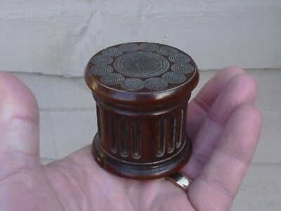 An unusual small Early Victorian Turned Rosewood ? Pot & Lid c1840/50