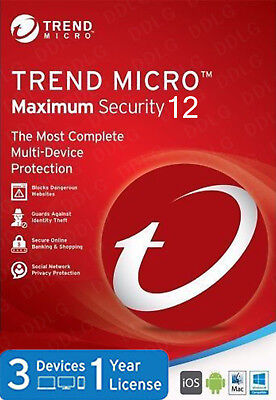 Trend Micro Maximum Security 12 2018 1 Year 3 Devices
