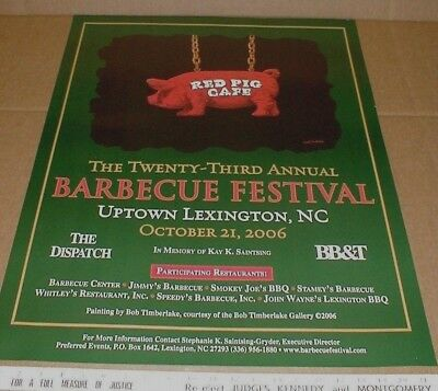 2006 Lexington barbeque festival Bob Timberlake Pig art poster NC North Carolina
