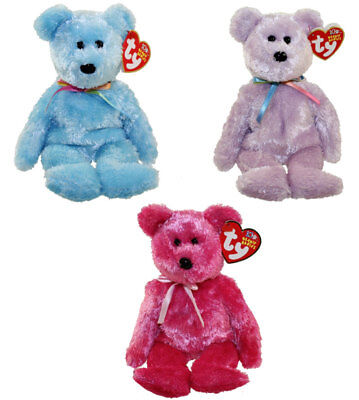 TY Beanie Babies - SHERBET Bears (Set of 3 - Purple, Blue & Raspberry) (8.5 inch