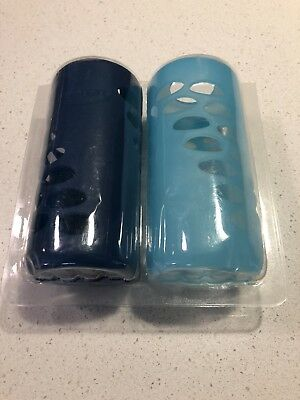 Dr Brown's Protective Silicone Sleeve 240ml Glass Bottle 2 Pack Blue Dr Browns