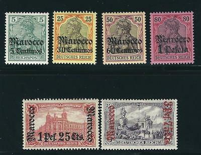Germany Off Morocco Stamps 6 different MLH F/VF 1905 SCV $143.00