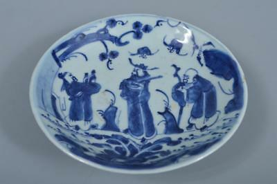 K1414: Chinese Pottery Blue&White Person Bat pattern ORNAMENTAL PLATE/Dish
