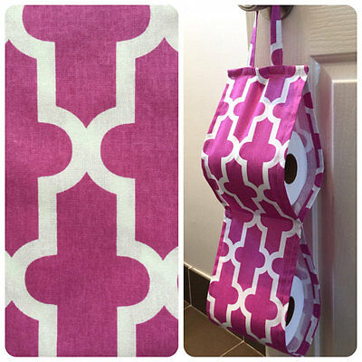 Double Toilet Roll Holder/ Toilet Paper Holder/ Bathroom Storage Moroccan Pink