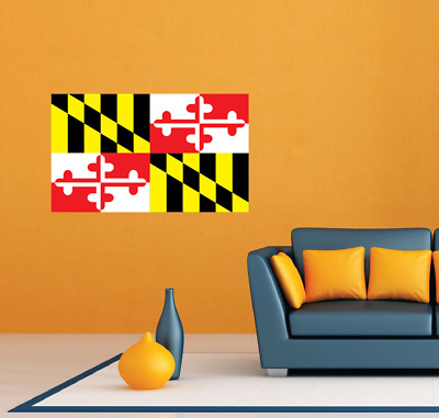 """Maryland State Flag United States USA Wall Room Decor Sticker Decal 25""""X18"""""""