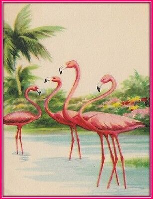 30 Custom Vintage Flamingo Art Personalized Address Labels