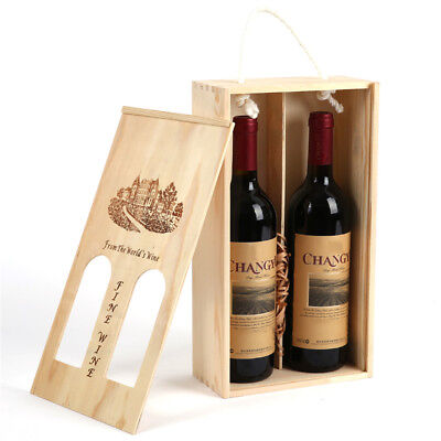 Vintage Pine Wood Rustic Double Bottle Wine Storage Box Hollow Wine Gift Case