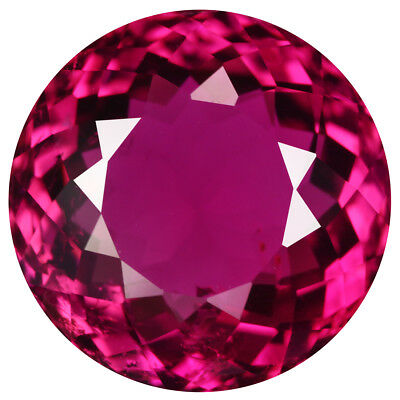 5.04Ct Exceptional Round Cut 11 x 11 mm 100% Natural AAA Intense Pink Tourmaline