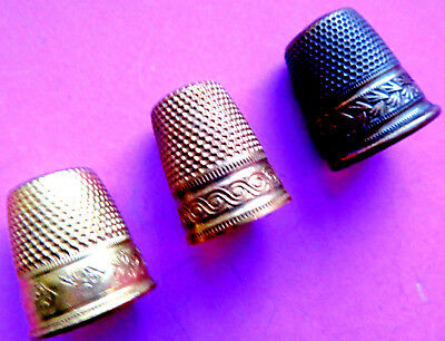 Antique Brass Girl Size  Sewing Thimbles,all Have Fancy Bands.