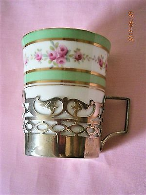 Paragon China Coffee Can with Solid Hall marked Silver holder Cup Holder