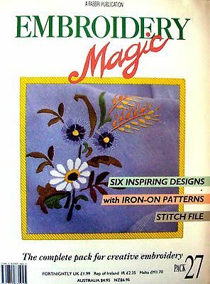 EMBROIDERY MAGIC No.27 - 6 Designs with Iron-on Patterns Creative Embroidery VGC