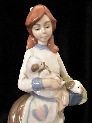 """NADAL Figurine  """"Pretty Girl with Puppies""""  27cm or 10.5 inches High  Excel Cond"""
