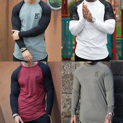 Neuf Bbh Homme Coupe Slim T-Shirt Manches Longues Camouflage Maille Espace Teint