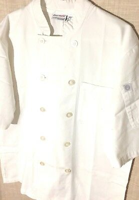 "Chef Works Mid Sleeve White Chef Coats 10 Button Size Medium 40""-42"""
