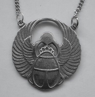 Chain Necklace #1074 Pewter SCARAB BEETLE (29mm x 28mm) EGYPTIAN MYTHOLOGY