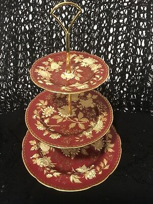 RARE WEDGWOOD TONQUIN RUBY 3 TIER CAKE STAND 1st QUALITY..