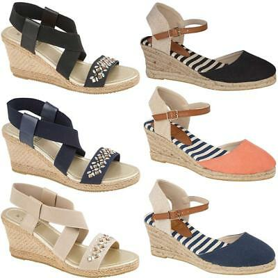 Ladies Womens Canvas Espadrilles Wedge Shoes Summer Dress Strappy Sandals Size