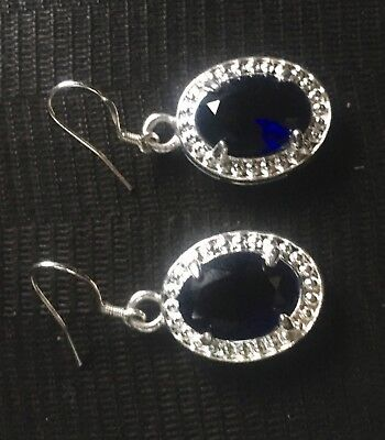 Ladies Fashion Jewelry Sapphire (Lab Created) Pair Earings 925 Sterling Silver