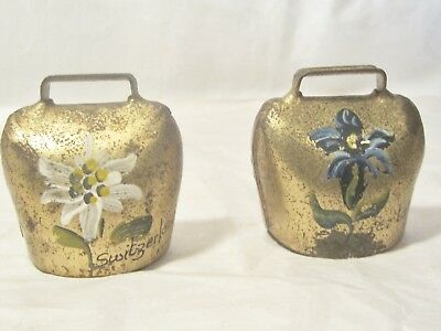 Two Vintage Metal / Brass ?? Small  Cow Bells / Floral &  Signed Switzerland