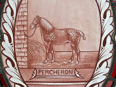 Antique Regency Architectural Stained & Painted Glass Percheron Cleveland Horse