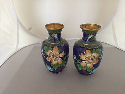 "Lovely Pair Of Highly Decorated Japanese Cloissone Vases 5.25"" Tall"