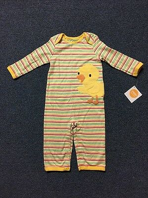New unisex GYMBOREE Long Sleeve Yellow Duck Romper Outfit Size 12-18 months