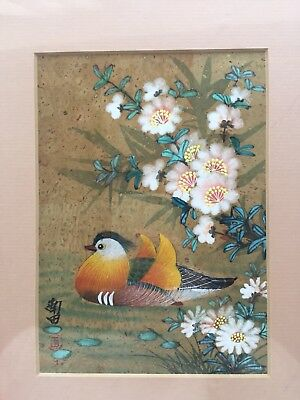 Original Chinese artist Signed Painting Of Bird On Cork Background With Gold