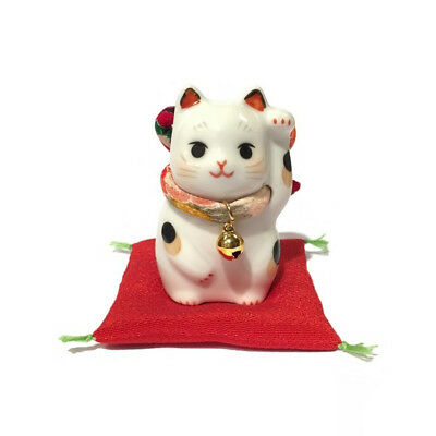 Chat Japonais 65mm Chirimen Maneki Neko bobtail porcelaine Made in Japan 40588