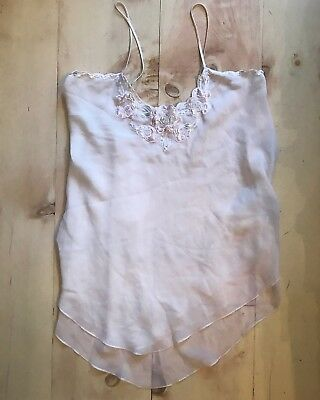 Vtg 1960s Chic Lingerie M White Chiffon Babydoll Nighgown Robe Sheer Lace Beaded