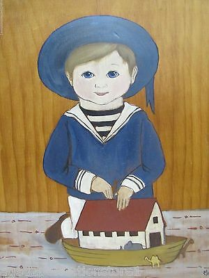 Folk Art Young Boy wearing Blue with Boat Painting on Wood Board signed M King