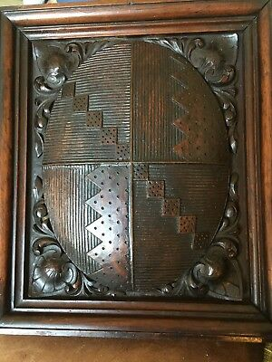 Antique Carved Wooden Heraldic Armorial Panel