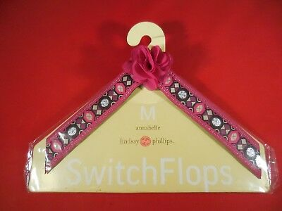 NEW Lindsay Phillips Switchflops Straps MEDIUM - ANNABELLE -PINK & BROWN - RARE