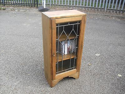 Lovely Pine 1930's Era Rustic Lead Glazed Small Bookcase Cabinet