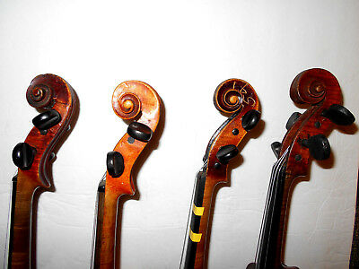 Vintage Lot of 4 Old Antique Violins - No Reserve