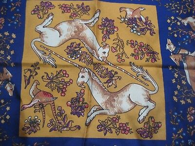 DRAKE'S 100% SILK pocket square handkerchief gold UNICORN purple dogs RRP £65