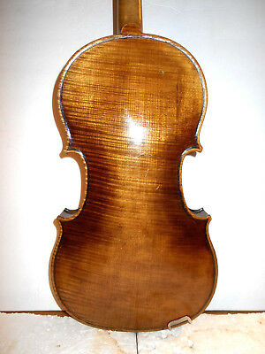 "Old Vintage Antique German ""Stradivarius"" 1 Pc. Back Full Size Violin - NR"