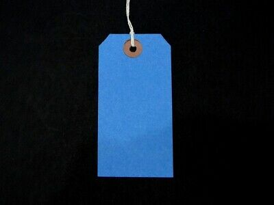 Blue Strung Tie On Tags String Luggage Labels Wedding Craft Gift 120mm x 60mm
