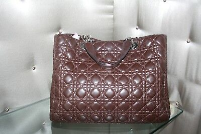 00948d13ac7a CHRISTIAN DIOR BROWN Cannage Quilted Lambskin Leather Granville Tote ...