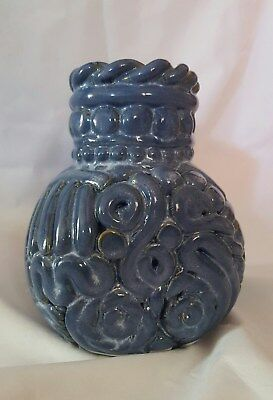 Clay vessel  Blue Vase  Pottery made Vase Homemade One of a Kind