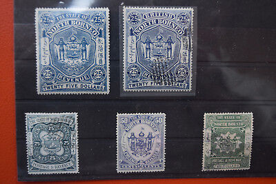 North Borneo 2 Revenue Stamps 1887 Mnh, 1892 used with 3 other stamps
