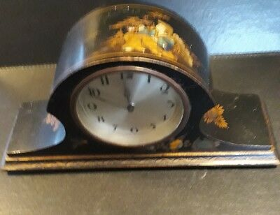 BEAUTIFUL 1920s JAPANNED MANTEL CLOCK super decoration to the case.