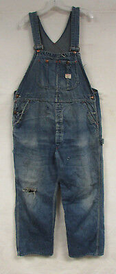 Vintage Denim Overalls Big Mac Square Bak Sanforized Mens 36X30 Distressed Bibs