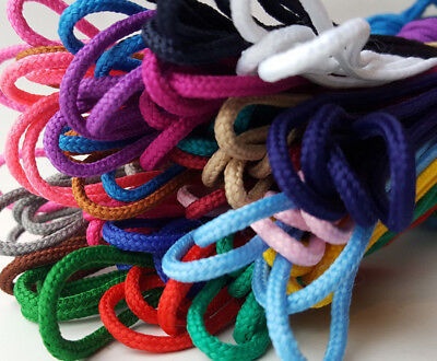 Fine Round Shoe Boot Laces Shoelaces 3mm Brogues Trainers Colours 45cm to 300cm