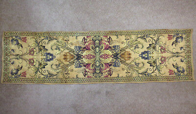 Antique Vtg Floral Tapestry Runner France 12.5x47