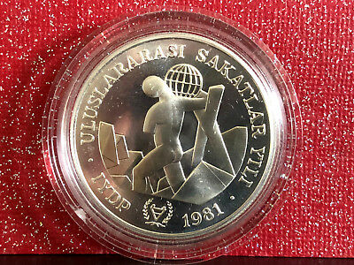 1981 TURKEY 3000 Lira Year of Disabled Persons Silver Commemorative Coin