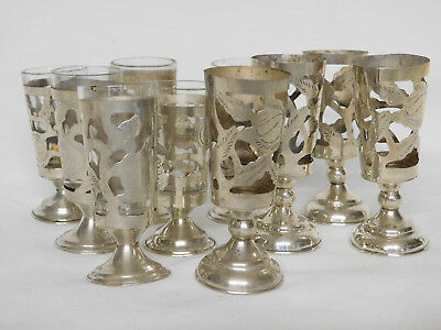 10 = Sterling Silver 925 Pierced Cordial Shot Glasses