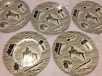 Ridgway Homemaker 5 x Tea Plates Black and White Enid Seeney Design