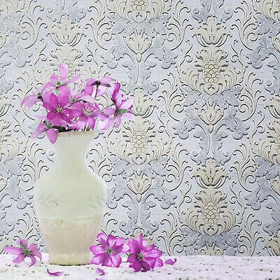 Anaglypta Vinyl Wallpaper Textured Roll Solid White Paintable Modern Victorian