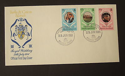 Turks & Caicos 1981 Royal Wedding FDC First Day Cover Princess Diana Charles